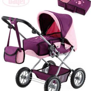 BAYER Kombi Grande kočárek pro panenku miminko růžovo-fialový s taškou