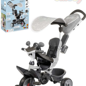 SMOBY Baby tříkolka šlapací Baby Driver Comfort šlapadalo s vodící tyčí a stříškou