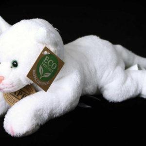 PLYŠ Kočka bílá 22cm ležící *PLYŠOVÉ HRAČKY*