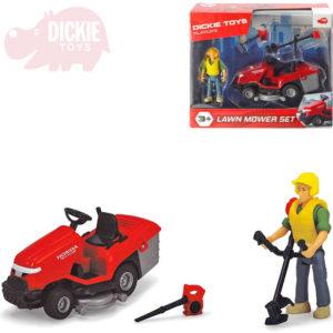 DICKIE Sekačka na trávu traktůrek Honda s figurkou set s křovinořezem a fukarem