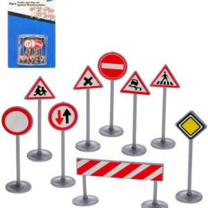 Dopravní značky a značení set 12ks na kartě plast