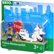 BRIO DŘEVO Set motorka policie s policistou doplněk k vláčkodráze