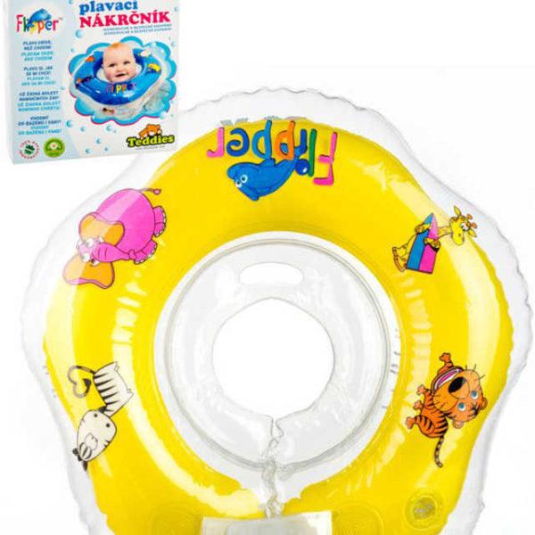 Baby nákrčník plavací kruh Flipper žlutý nafukovací podpěra hlavy do vody pro miminko