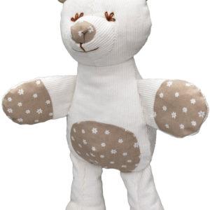 MORAVSKÁ ÚSTŘEDNA Baby medvídek textilní s chrastítkem 30cm kytičky