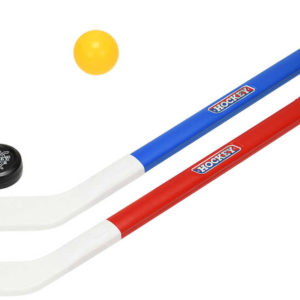 Hokejka dětská barevná 71cm set 2ks míčkem a pukem plast