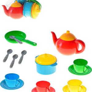 Baby dětské barevné nádobí holčičí set 16ks v síťce plast