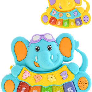 Baby pianko sloník 17cm na baterie 2 barvy pro miminko Světlo Zvuk plast