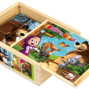 BINO DŘEVO Kostky dřevěný kubus set 12ks Máša a medvěd