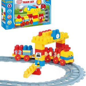 WADER Baby Blocks vlak s kolejemi a samolepkami 58 dílků STAVEBNICE
