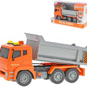Auto nákladní 1:12 sklápěčka 28cm na setrvačník na baterie Světlo Zvuk