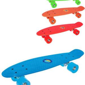 Skateboard jednobarevný 56x15cm 4 barvy plast