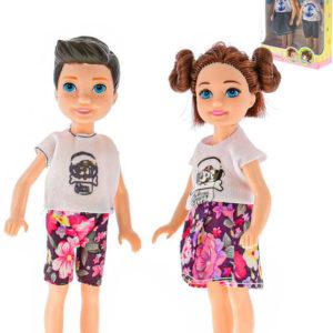 Set panenka + panák 14cm módní letní obleček 3 druhy v krabici