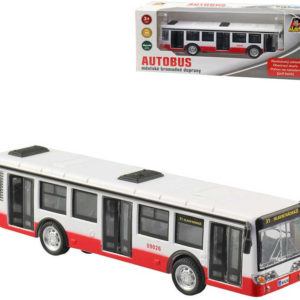 Autobus kovový 16cm zpětný chod český design otevírací dveře