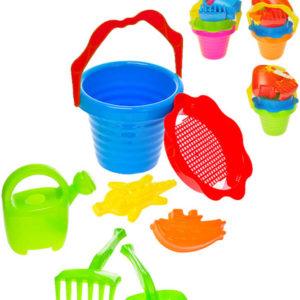 Sada na písek 7ks kbelík 16cm s konvičkou 2 formičkami a 2 nástroji 4 barvy plast