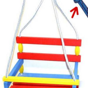 DŘEVO Houpačka dětská 39x30cm barevná závěsná se zábranou dřevěná