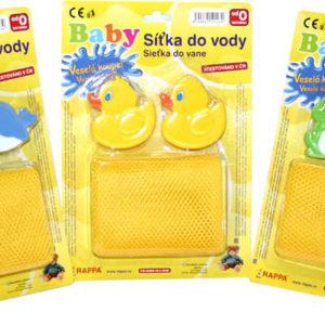 Síťka na hračky k vaně + úchyty 3 druhy