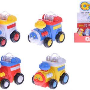 Baby mašinka s kuličkami 9cm na setrvačník 4 barvy plast