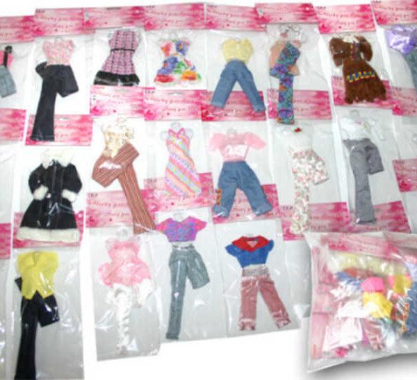 Šaty pro panenku Barbie letní různé druhy v sáčku
