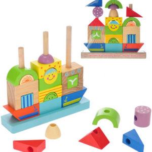 DŘEVO Loďka baby navlékací 2-Play set s kostkami 24 dílků pro miminko