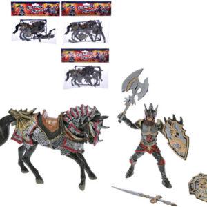Rytíř dračí 10cm plastový set s koněm 15cm a doplňky 4 druhy v sáčku
