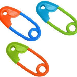 Chrastítko barevný špendlík 12cm pro miminko 1ks v sáčku 3 barvy plast