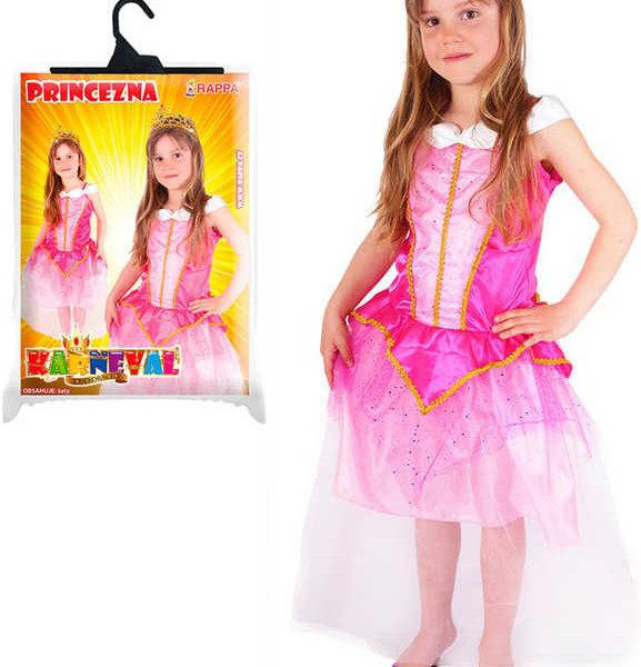 36450adc5885 KARNEVAL Šaty zlatě zdobené růžová princezna vel.S (4-6 let) KOSTÝM ...