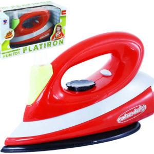 Žehlička dětská červená plastová na baterie s vibracemi kropí Světlo Zvuk