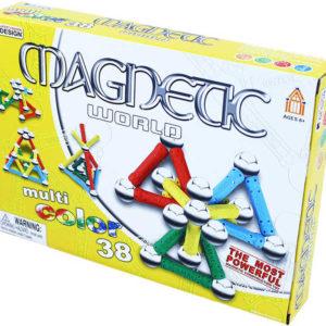 Stavebnice magnetická 3D 38 dílků v krabici