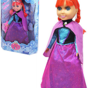 Panenka zimní zrzka s copánky set s hůlkou a doplňky do vlasů 38cm