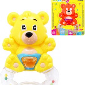 Chrastítko plastové baby medvěd s držátkem 2 barvy pro miminko