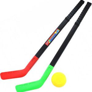 Hokejky plastové barevné dětské set 2ks s pukem
