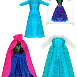 Oblečení pro paneku modré šatičky zimní království 4 druhy v sáčku