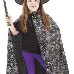 KARNEVAL Plášť pavučinový černý set s kloboukem (104-150 cm) 3-10 let KOSTÝM