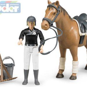 BRUDER 62505 Set jezdecký Set Kůň (koník) s jezdkyní a příslušenstvím