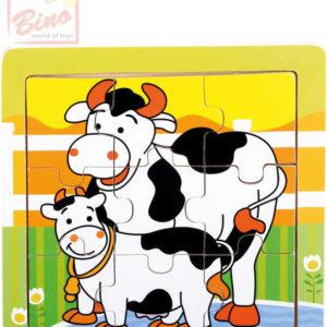 BINO DŘEVO Puzzle kravičky 9 dílků baby skládačka 12x12cm v rámečku
