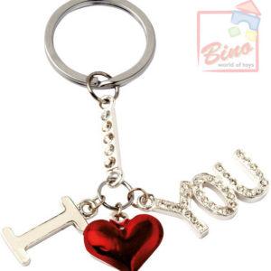 BINO Přívěsek zdobený I Love You srdíčko na klíče kov v sáčku