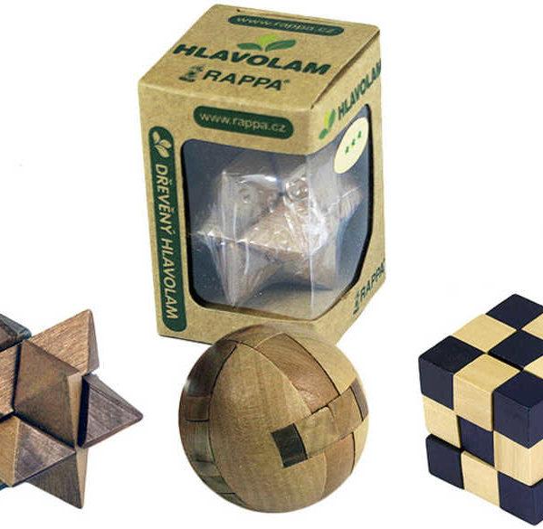 DŘEVO Hlavolam dřevěný mini 6 druhů Malý Dárkové balení