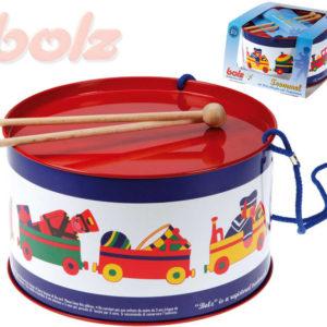 BOLZ Bubínek dětský potisk hračky vláček kov 20cm set se 2 paličkami