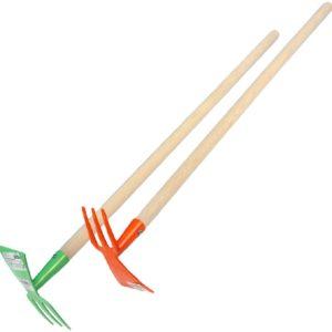 DŘEVO Dětské nářadí pracovní 80cm zahradní kovová motyka 2 barvy
