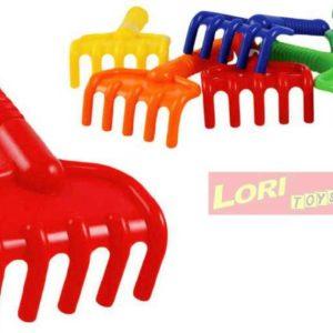 LORI 202 Dětské hrabičky 19cm plastové (hrábě) na písek 6 barev