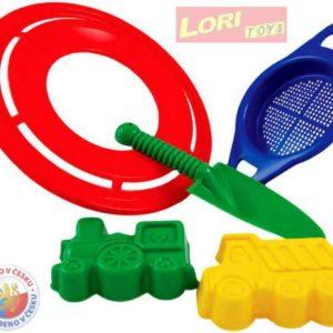 LORI 222 LPS sada malá - 2 bábovičky, létající prstenec, sítko a rýček na písek