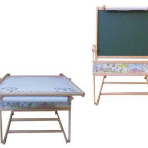 DŘEVO Dětská školní tabule FILIP I. na křídu fix s papírem + stolek