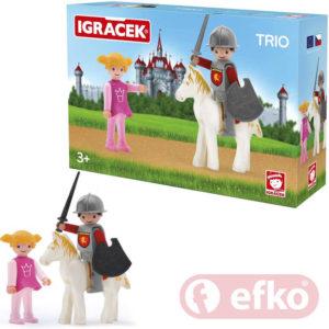 EFKO IGRÁČEK TRIO Princezna, rytíř a bílý kůň set v krabičce STAVEBNICE