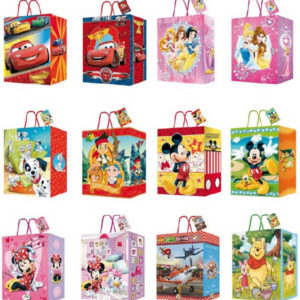 Dárková taška Disney MALÁ s ouškem tkanička 18x24cm karton 12 druhů