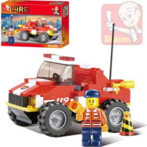SLUBAN Stavebnice HASIČI mini požární vůz set 118 dílků + 1 figurka plast