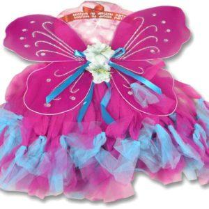 KARNEVAL Šaty růžová sukně s křídly a čelenkou KOSTÝM
