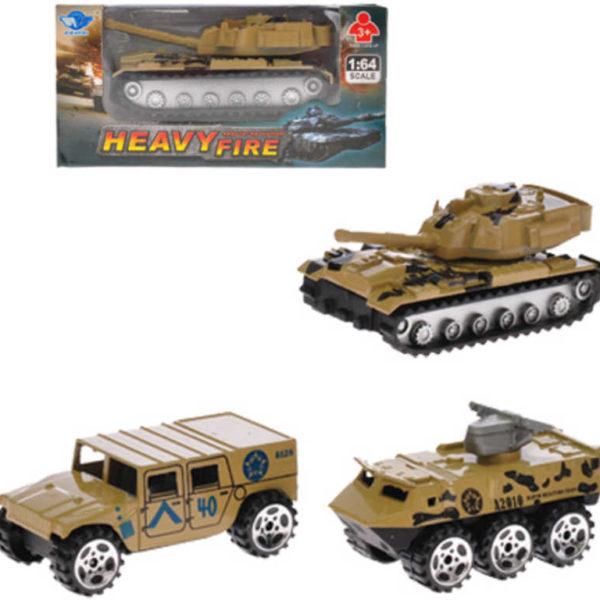 Vozidlo vojenské obrněné auto 1:64 7cm kovové zpětný nátah 3 druhy