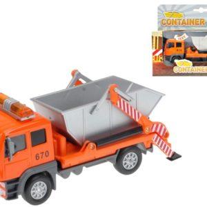 Auto nákladní s kontejnerem 14 cm Světlo + Zvuk kovové