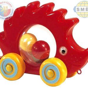SMĚR Ježek baby tahací s míčky na kolečkách plast