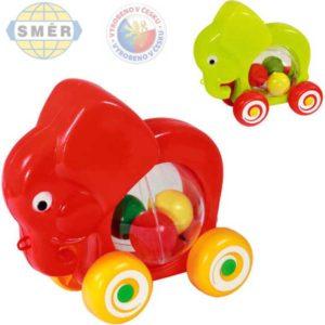 SMĚR Slon baby jezdící s míčky tahací 2 barvy PLAST